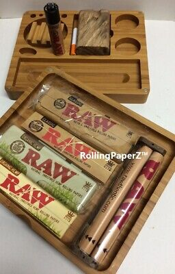 RAW Rolling Kit - Bamboo Tray, Roller, Lighter, Papers, Storage Tins, Dugout