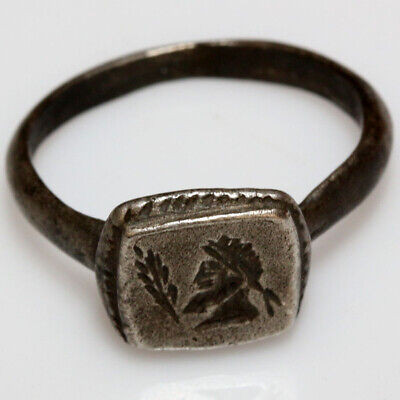 Roman Provincial Silver Seal Ring Depicting Male Bust Circa 200-300 Ad
