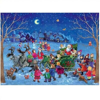 Sleighing with Santa Claus Children in the Snow German Christmas Advent Calendar