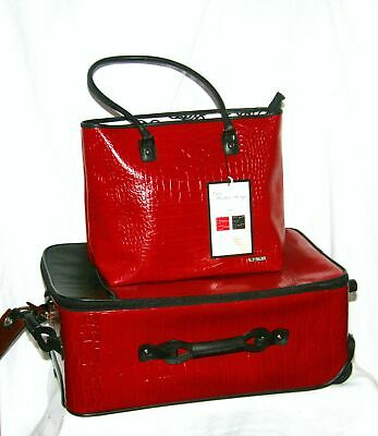 Rare New Hartmann Luxe Moulin Rouge Red Embossed Croc Leather Suitcase & Tote