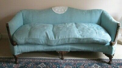 Antique Victorian Settee Sofa Carved Curved Arms Feather Filled