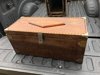 """ornate hand made oak tool chest - high quality hardware detail 30""""x13""""x 13"""""""
