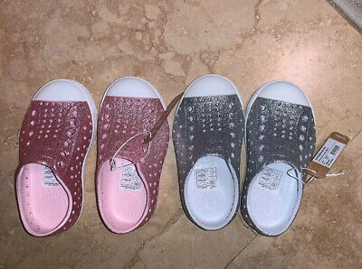 Two Pairs Of Girls Bling Native Slip On Shoes NIB. Pink And Silver 6 Toddler.