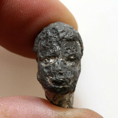 Ancient Or Medieval Silver Plated (Lead Or Billon) Male Head From Statue