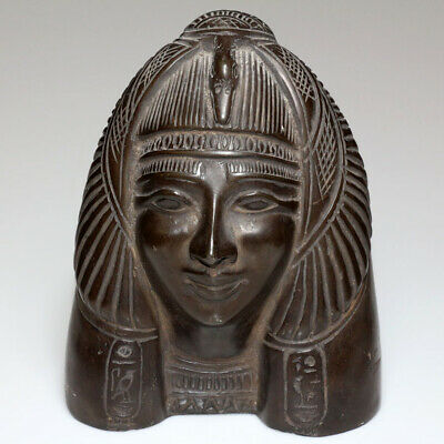 MASSIVE-1990 grams NEOCLASSIC EGYPTIAN CLEOPATRA STONE BUST SCULPTURE ORNAMENT