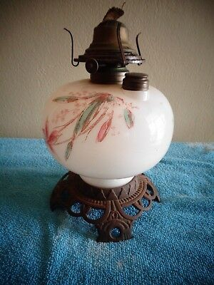 Old Antique Glass Oil Burning Lamp Ornate Cast Metal Base Missing Shade