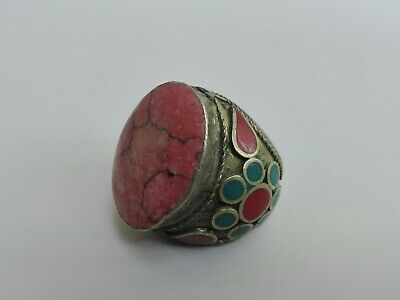Vintage Afghan Ring Silver Turquoise Red Handmade Antique Stone Unique Beautiful