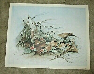 """/""""Early Snow Morning Doves/"""" by Raymond Ching 1982 Ltd Edition Print"""