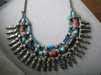 Antique Chinese Coral Turquoise Lapis Lazuli Silver Great Necklace Unbelievable