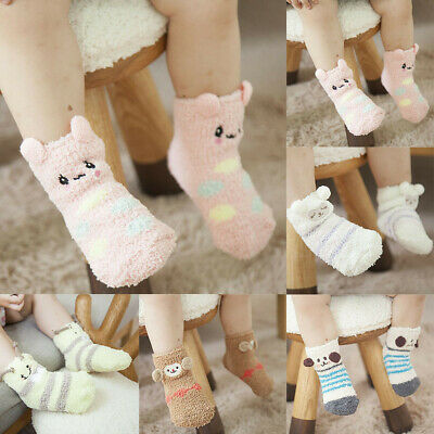 Toddler Kids baby Boys Girls Sock Cartoon 3D Animal Anti-Slip Knitted Warm Socks