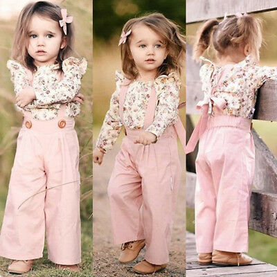 US Sweet Toddler Kids Baby Girl Clothes Floral T-Shirt+Strap Bib Pants Outfits