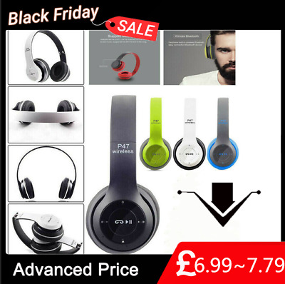 Wireless Headphones Bluetooth Headset Noise Cancelling Over Ear W/ Microphone *