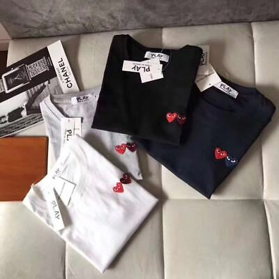 Unisex COMME DES GARCONS PLAY CDG Graffiti Half Heart Embroidered T-SHIRT NEW