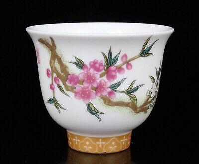 China Collectible Colored Drawing Plum Blossom Jingdezhen Porcelain Cups
