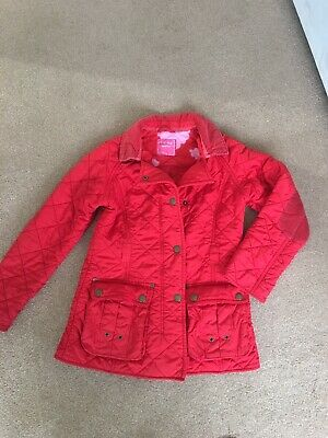 Next Girls Quilted Coat Age 9-10 Equestrian Style School Lovely Cherry Red