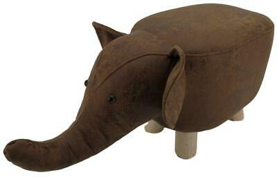 Mini Brown Elephant stool / footstool faux leather / suede with wooden legs