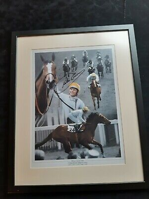 "Jockey Legend - Willie Carson -  Hand Signed Picture & Framed 16"" x 20"" with COA"