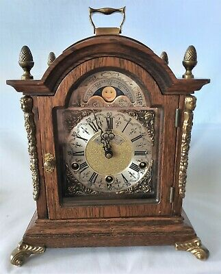 Warmink Westminster Clock Dutch Oak 8 Day Key Wind Moon Dial, Silent Option