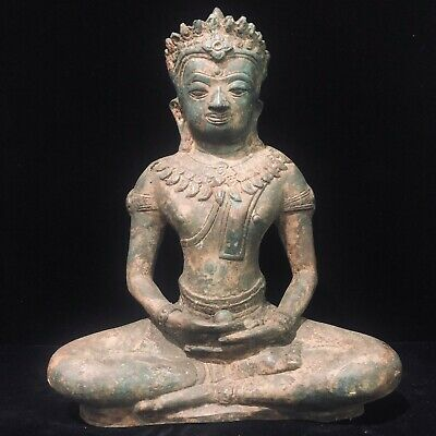 Oriental Cambodian Khmer Period Ancient Buddha Statue Meditation perch 14th c