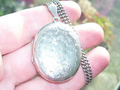 "Stunning Large Antique Solid Silver Double Locket Pendant Necklace w 17"" Chain"