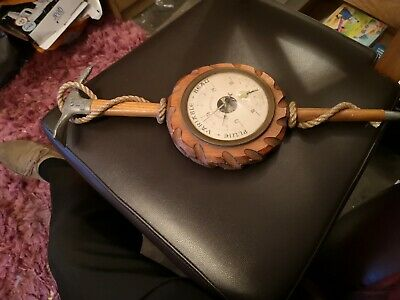 Antique  French SWISS ?Black Forest Mountaineering Hand-Carved Wood Barometer