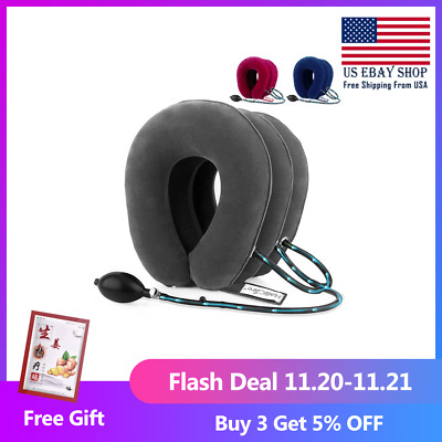 US Stock3 Layer Inflatable Air Cervical Neck Traction Device Soft Neck Collar