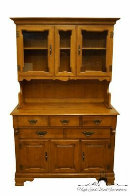 """TELL CITY Solid Hard Rock Maple Colonial Style 44"""" Buffet w. Display China Ca..."""