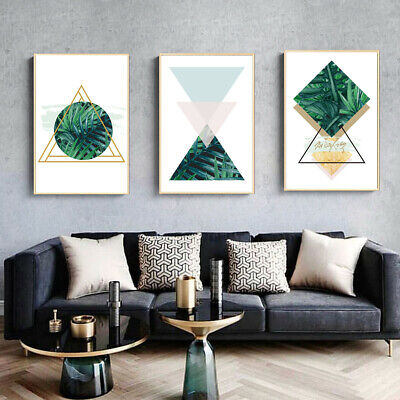 Green Geometric Pattern Canvas Poster Art Wall Picture Living Room Home Decor