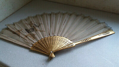 Large Antique  Vintage Japanese / Chinese Silk Hand Fan - Butterflies- Damaged