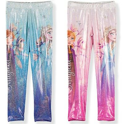 Disney Frozen Anna & Elsa Girls Leggings Shiny Hologram Laser effect 2-8 yrs