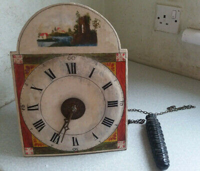 Antique Wooden Hand Painted Wooden  Chain Driven Wall Clock - Restoration Job