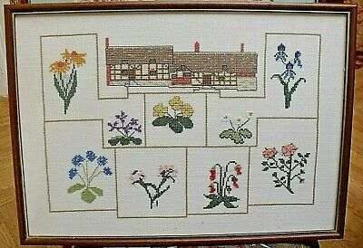 """Completed Cross stitch picture Tudor Cottage Spring Flowers framed, 18 x 13"""""""