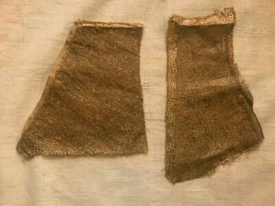 2 BEAUTIFUL UNUSUAL FRAGMENTS 19th CENTURY FRENCH GOLD LAMÉ, CLOTH OF GOLD 461