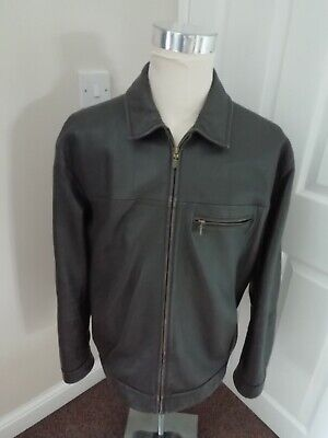 M&S Collezione Leather Jacket L Brown Soft Leather Zip Jacket Marks & Spencer