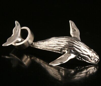 Precious Chinese 925 Silver Pendant Statue Solid Dolphin Mascot Old Collection