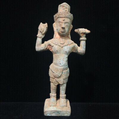 Ancient Stand Amulet Figure Asian Khmer Cambodia Buddha Statue God Bronze