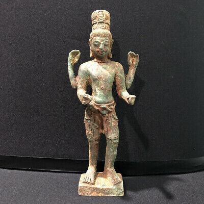 Ancient Baphuon Cambodian Khmer Dynasty Bronze God Buddha Statue 4 Arms Long Hat