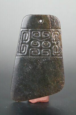 One Fine Chinese Ancient Hongshan Culture Jade Carving Axe Pendants 0014
