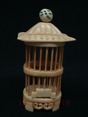 Unique Collection Old China Tibet Hand-carved House Form Cricket Cage Decoration