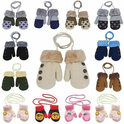 Winter with Rope Baby Knitted Gloves Full Finger Mittens Cotton For 0-12 Month
