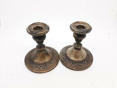 Antique Candle Sticks 2 Gorham Sterling Silver Black Starr and Frost