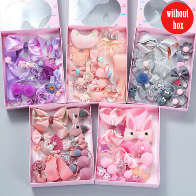 Baby Girls Boutique Head Clips Cute Hair Bows Crown Princess Bobbles Gift Set