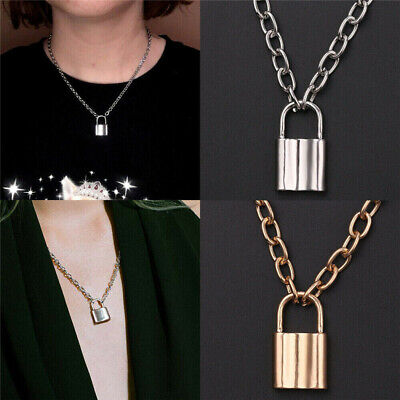 Lock Pendant Necklace Padlock Charms Long Chain Unisex Punk Hiphop Jewelry HOT