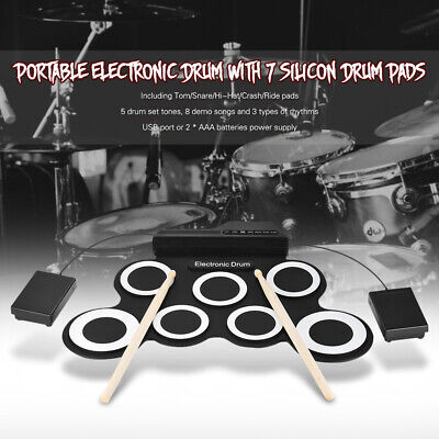 Compact Size Portable Digital Electronic Roll Up Drum Set Kit 7 Silicon Q5G4