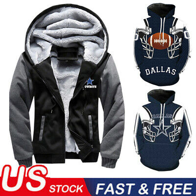 US Dallas Cowboys Hoodie Football Hooded Sweatshirt Fleece Coat Full Zip Jacket