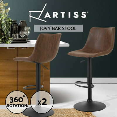 Artiss Kitchen Bar Stools Gas Lift Stool Chairs Swivel Barstools Vintage Leather