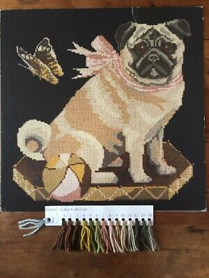 Elizabeth Bradley tapestry chart with wool card .'Toby the Pug' Perfect.