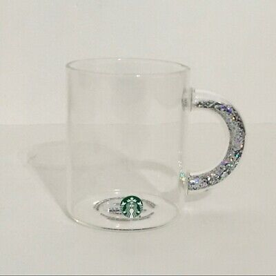 Starbucks Holiday Clear Glass Mug with Glitter Handle 2019 Limited Edition