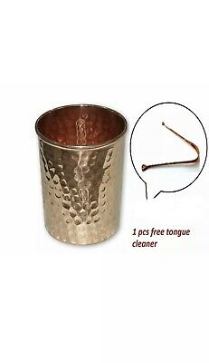 3 Pure Copper Hammered Drinking Mug Glass Cup Tumbler Plus Free Tongue Cleaner
