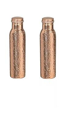 2 x SECONDS Leakproof, Pure Copper Hammered Water Bottle/Flask UK Seller